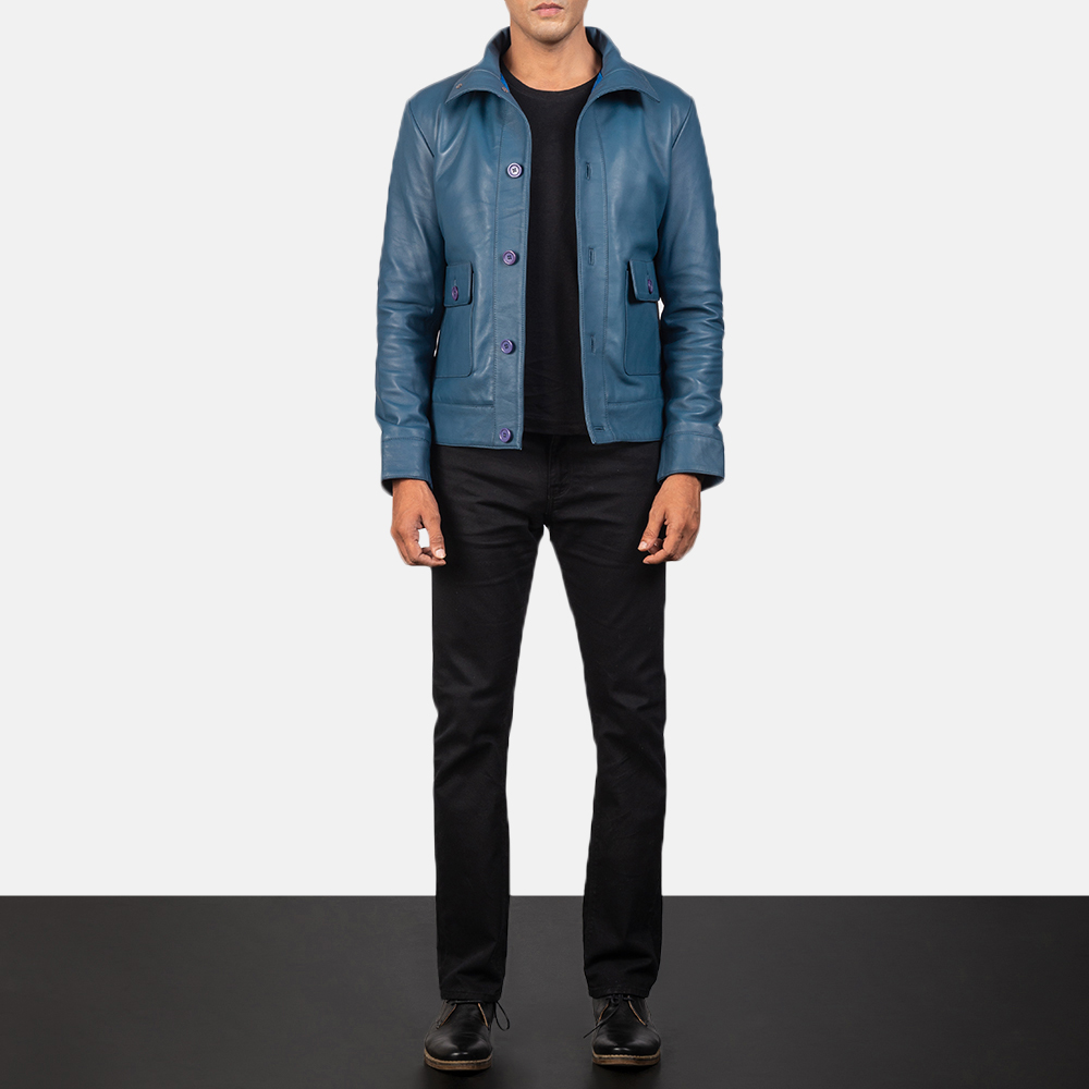 Men's Columbus Blue Leather Bomber Jacket