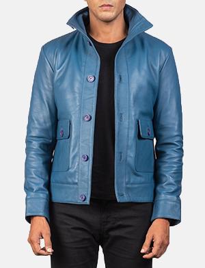 Men's Columbus Blue Leather Bomber Jacket