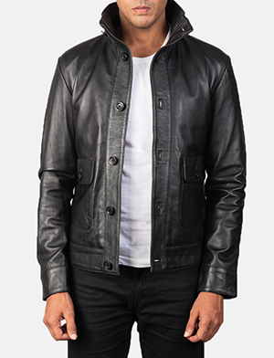 Men's Columbus Black Leather Bomber Jacket