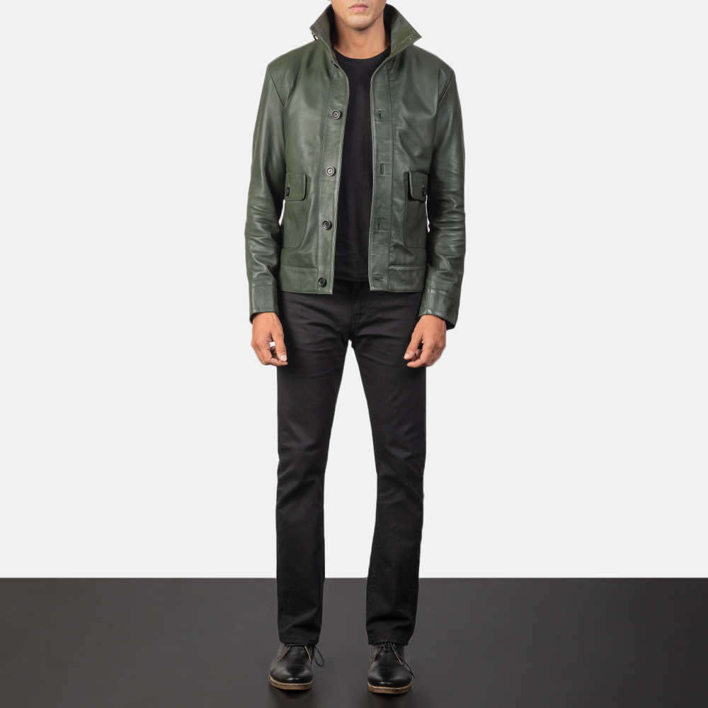 Men's Columbus Green Leather Bomber Jacket