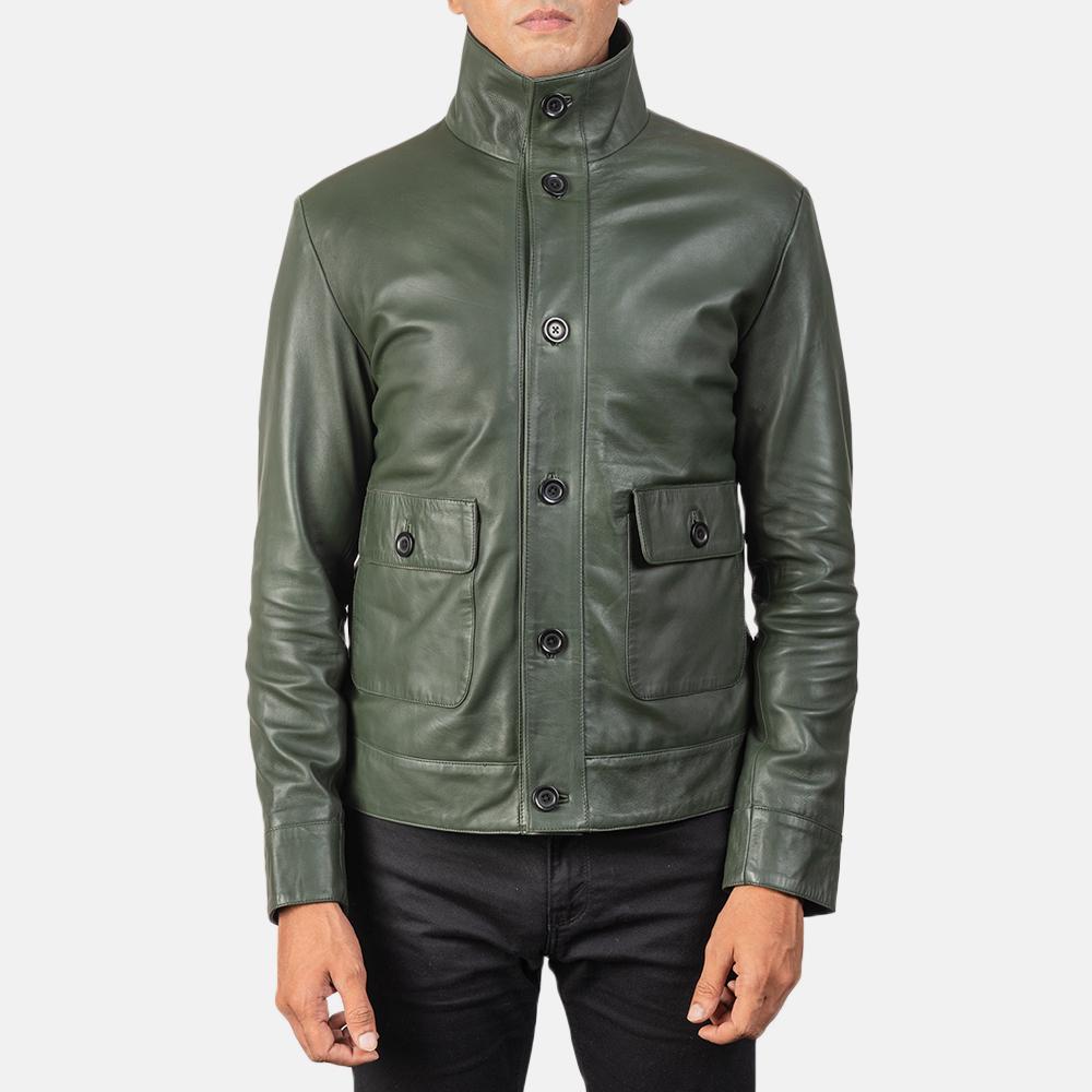 Men's Columbus Green Leather Bomber Jacket