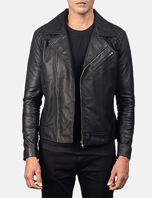 Danny Quilted Black Leather Biker Jacket