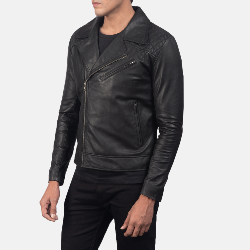 Men's Danny Quilted Black Leather Biker Jacket