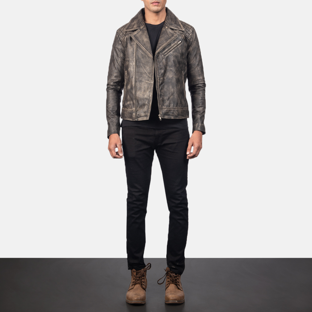 Men's Danny Quilted Brown Leather Biker Jacket