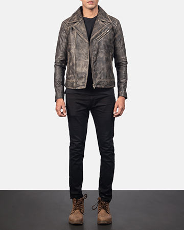 Men's Danny Quilted Brown Leather Biker Jacket 1