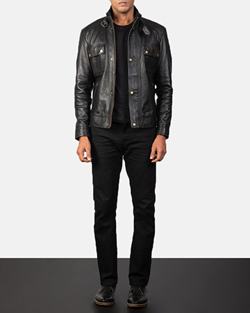 Men's Darren Black Leather Biker Jacket 1