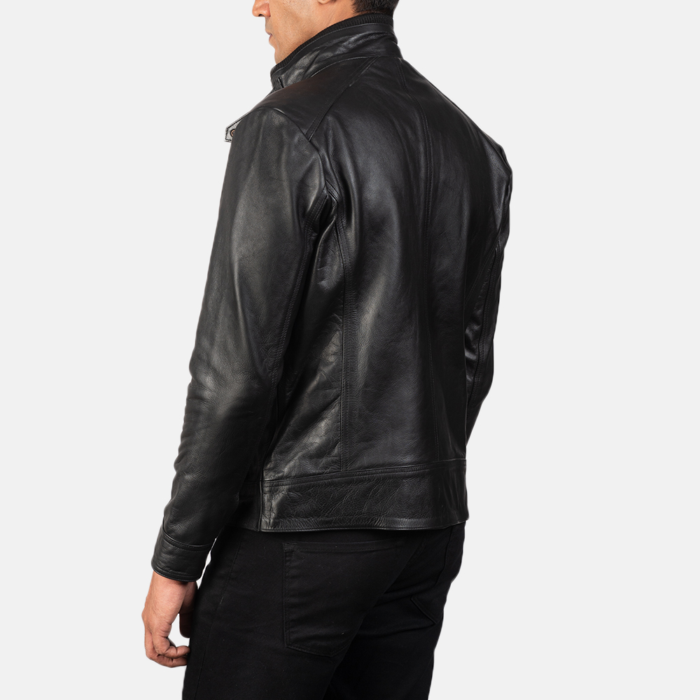 Men's Darren Black Leather Biker Jacket