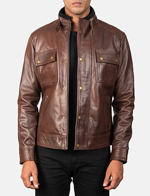 Men's Darren Distressed Brown Leather Biker Jacket