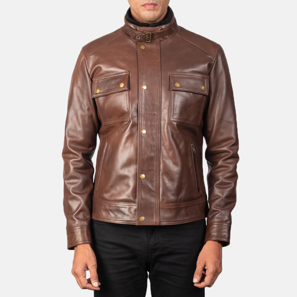 Men's Darren Brown Leather Biker Jacket