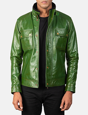 Men's Darren Distressed Green Leather Biker Jacket