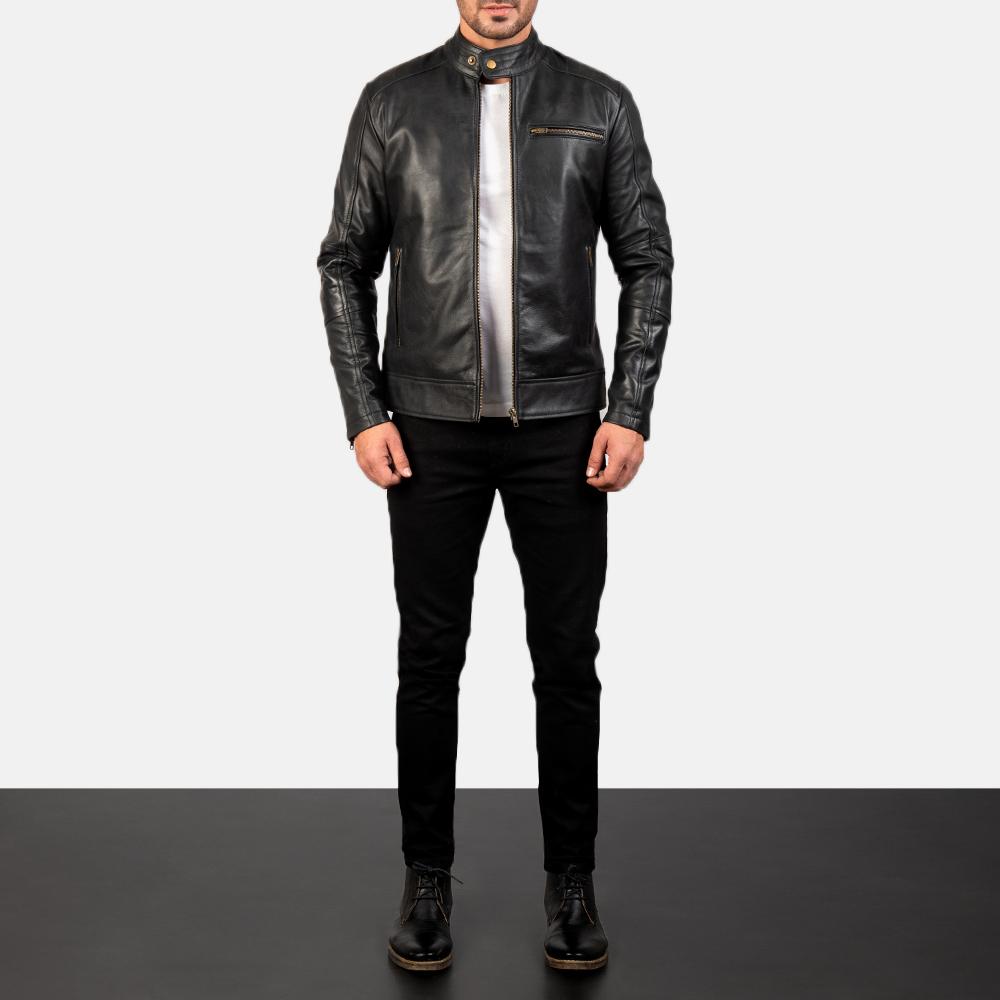 Mens Dean Black Leather Biker Jacket 1