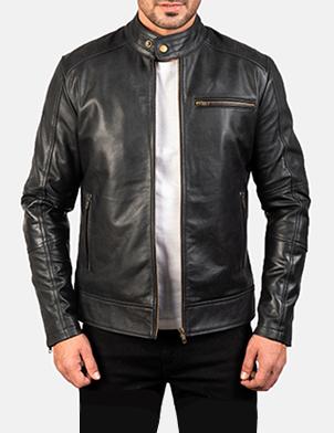 Mens Dean Black Leather Biker Jacket