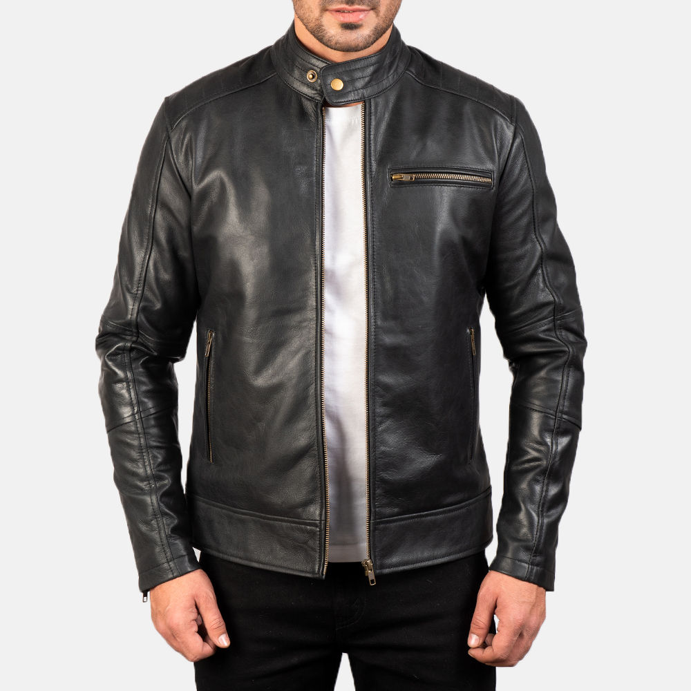 Mens Dean Black Leather Biker Jacket 3