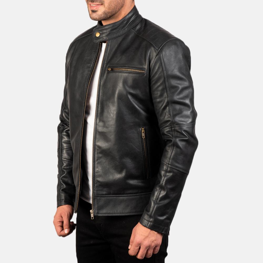 Mens Dean Black Leather Biker Jacket 2