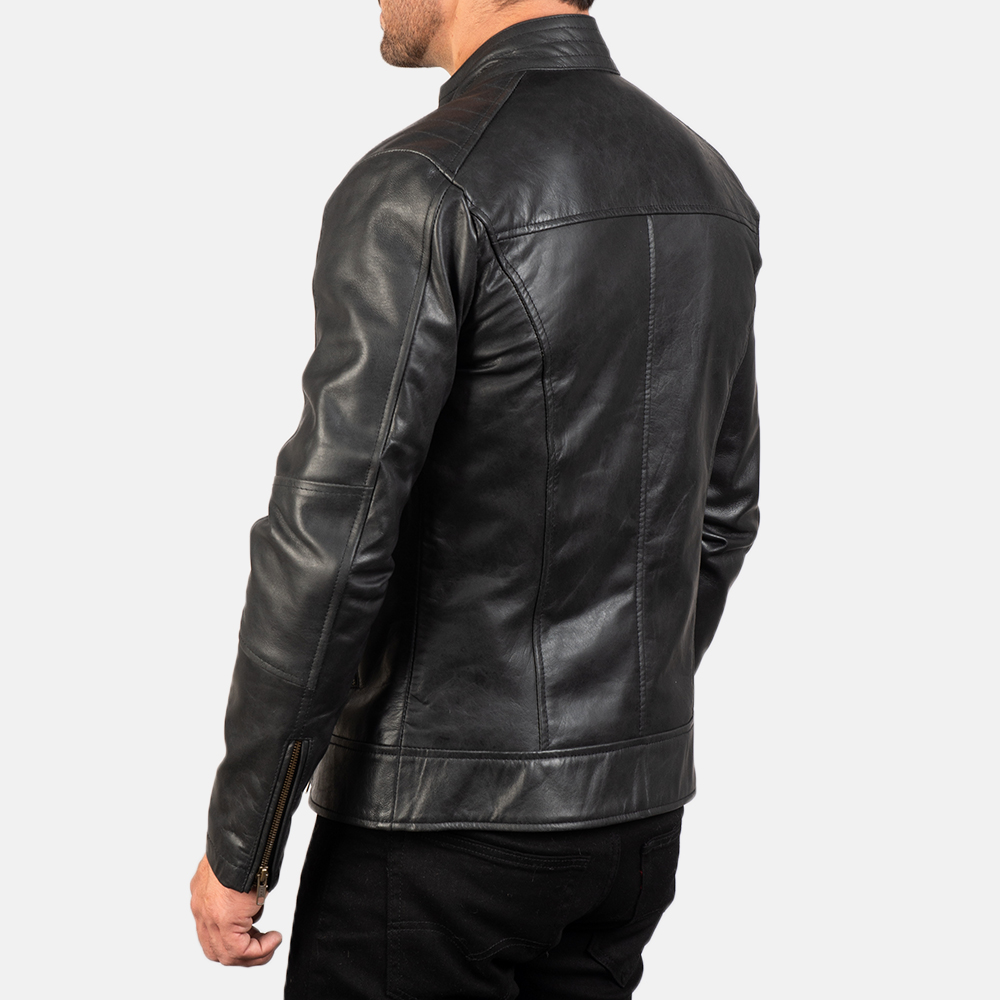 Mens Dean Black Leather Biker Jacket 5