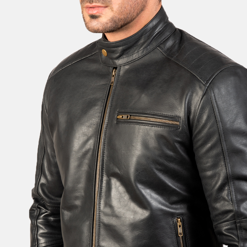 Mens Dean Black Leather Biker Jacket 6