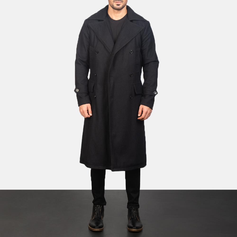 Men's Detective Black Wool Coat 5