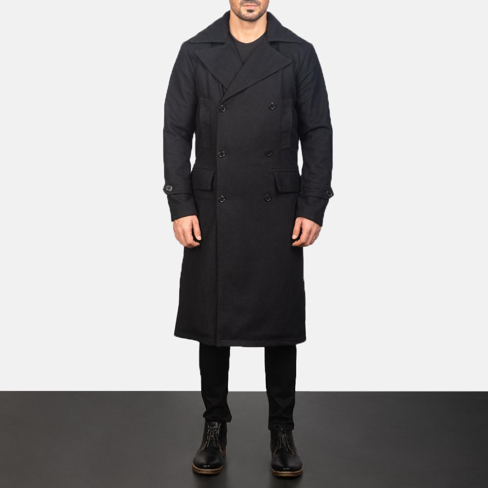 Men's Detective Black Wool Coat 1