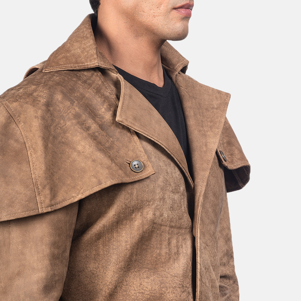Men's Deux Brown Leather Duster