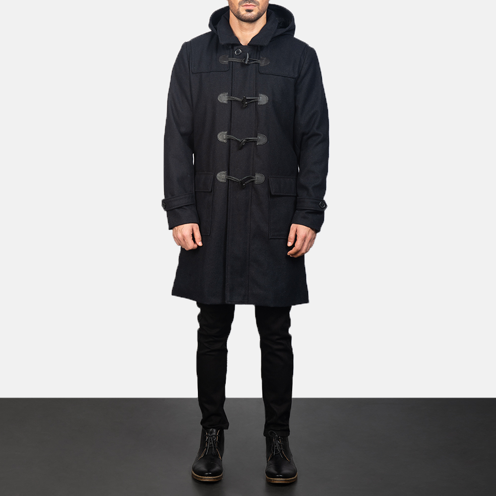Men's Black Wool Duffle Coat 3