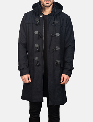 Drake Black Wool Duffle Coat