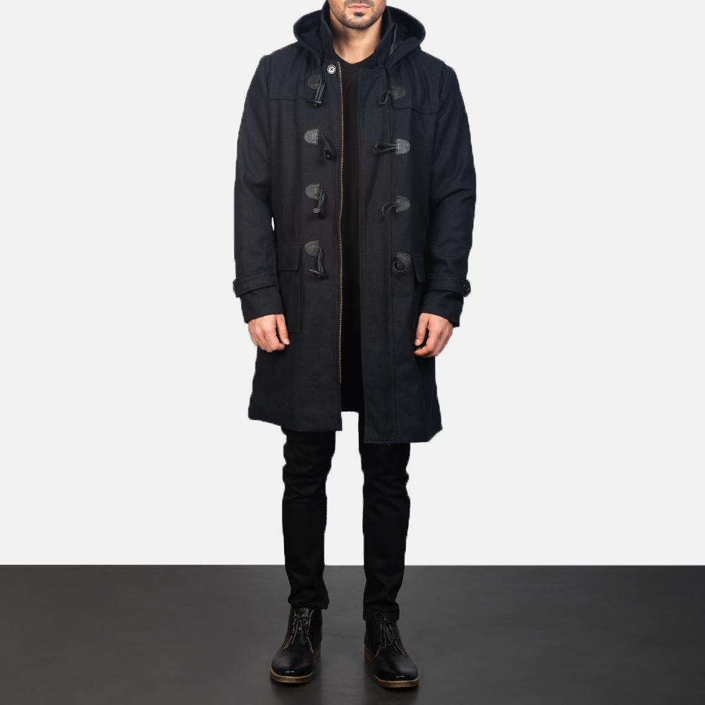 Men's Black Wool Duffle Coat 1