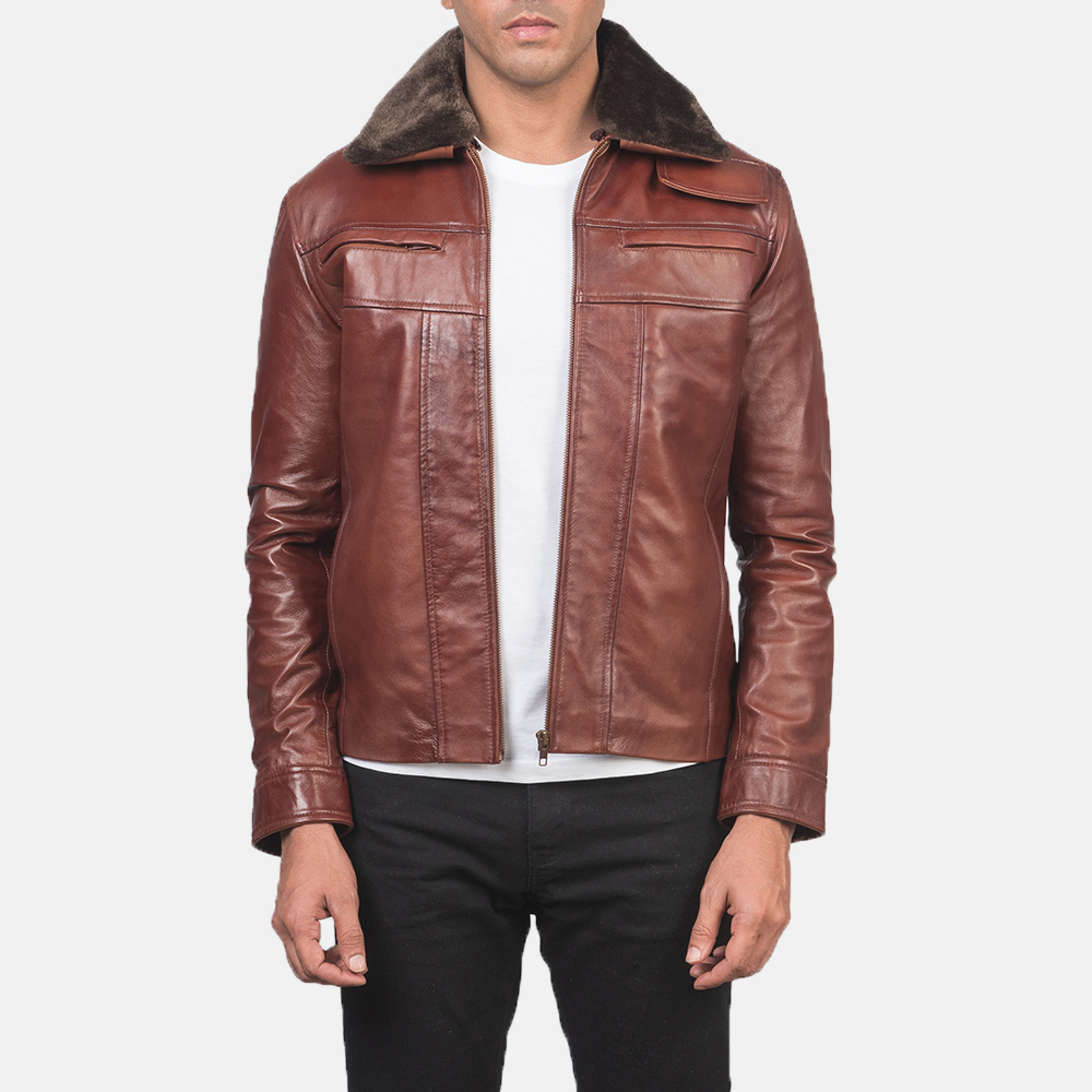 Mens Evan Hart Fur Brown Leather Jacket 3