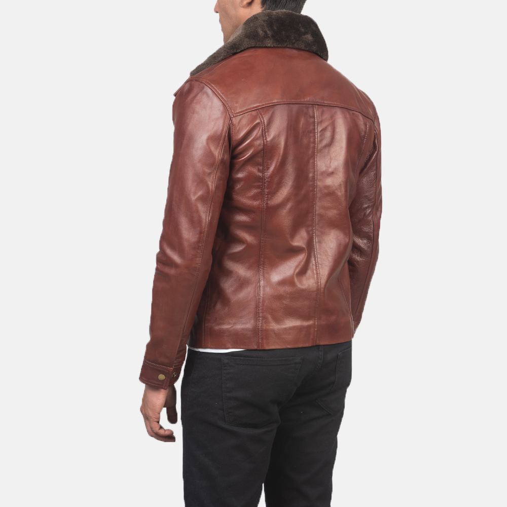 Mens Evan Hart Fur Brown Leather Jacket 5