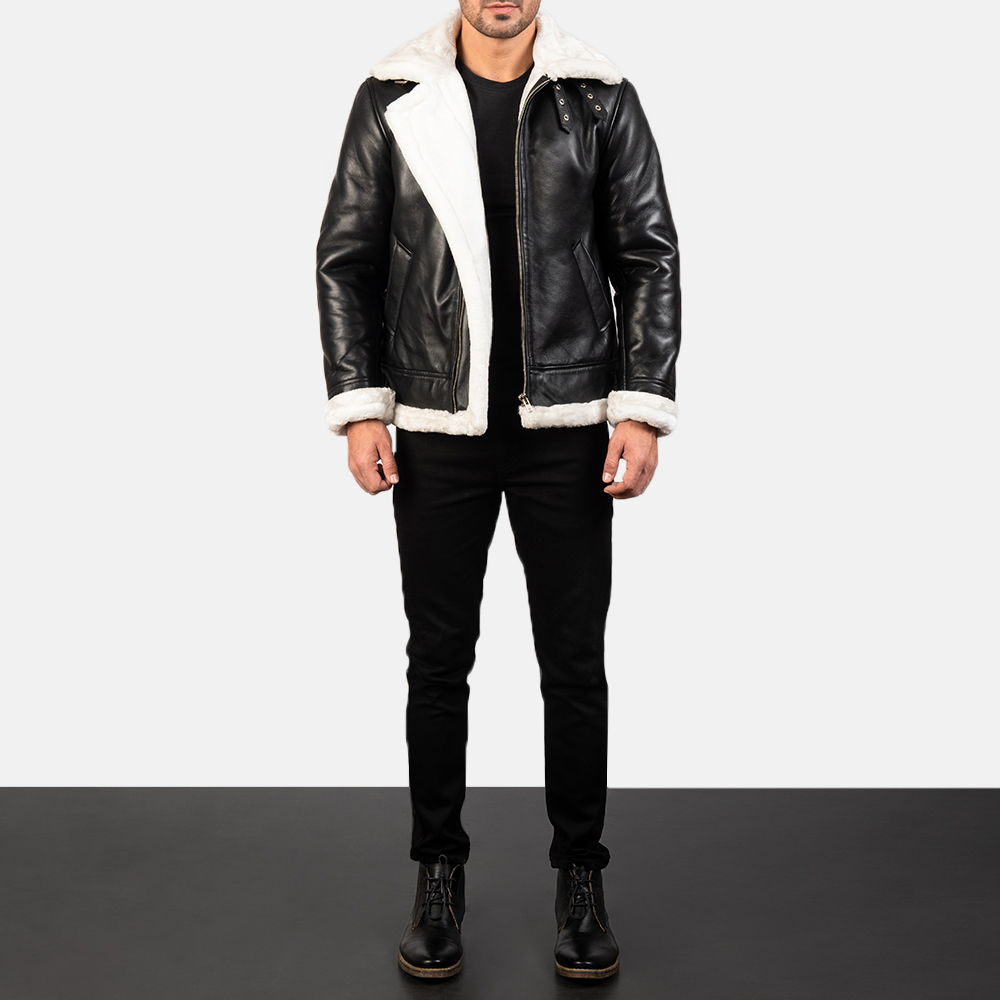 Men's Francis B-3 Black & White Leather Bomber Jacket 1