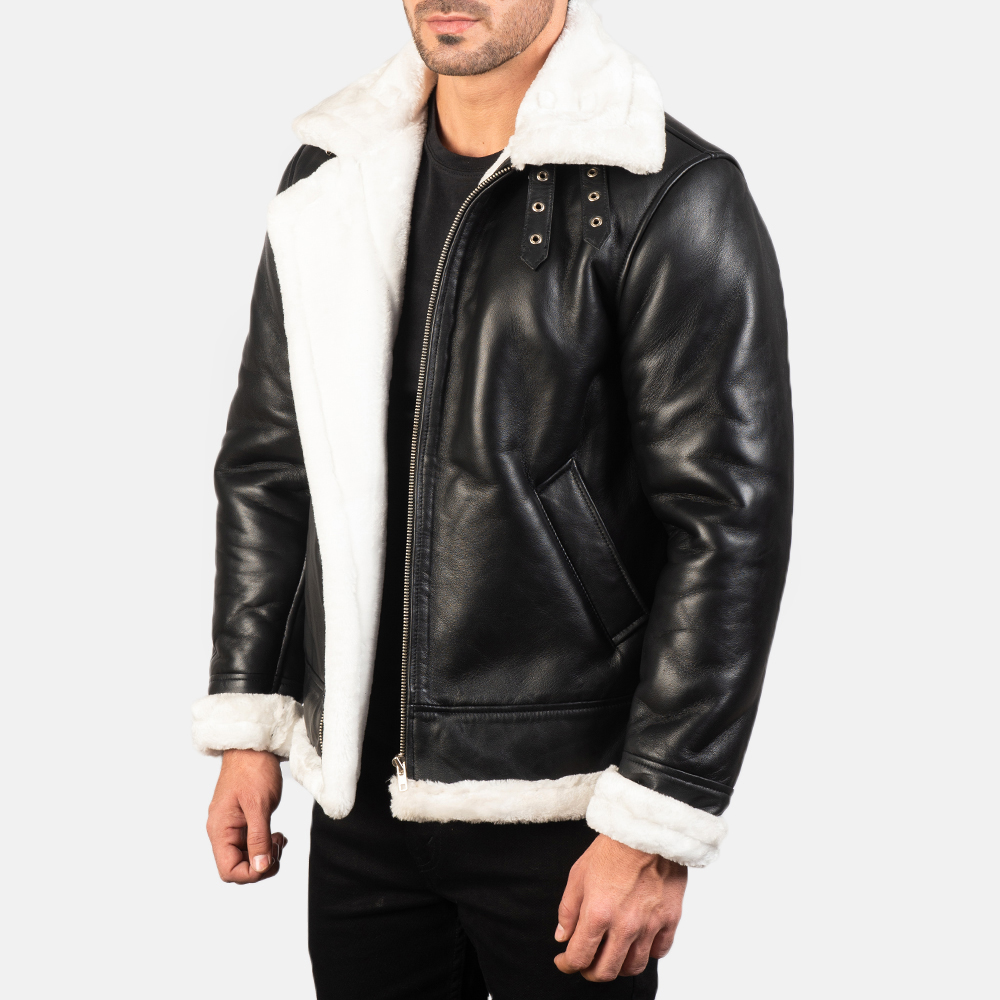 Men's Francis B-3 Black & White Leather Bomber Jacket 2
