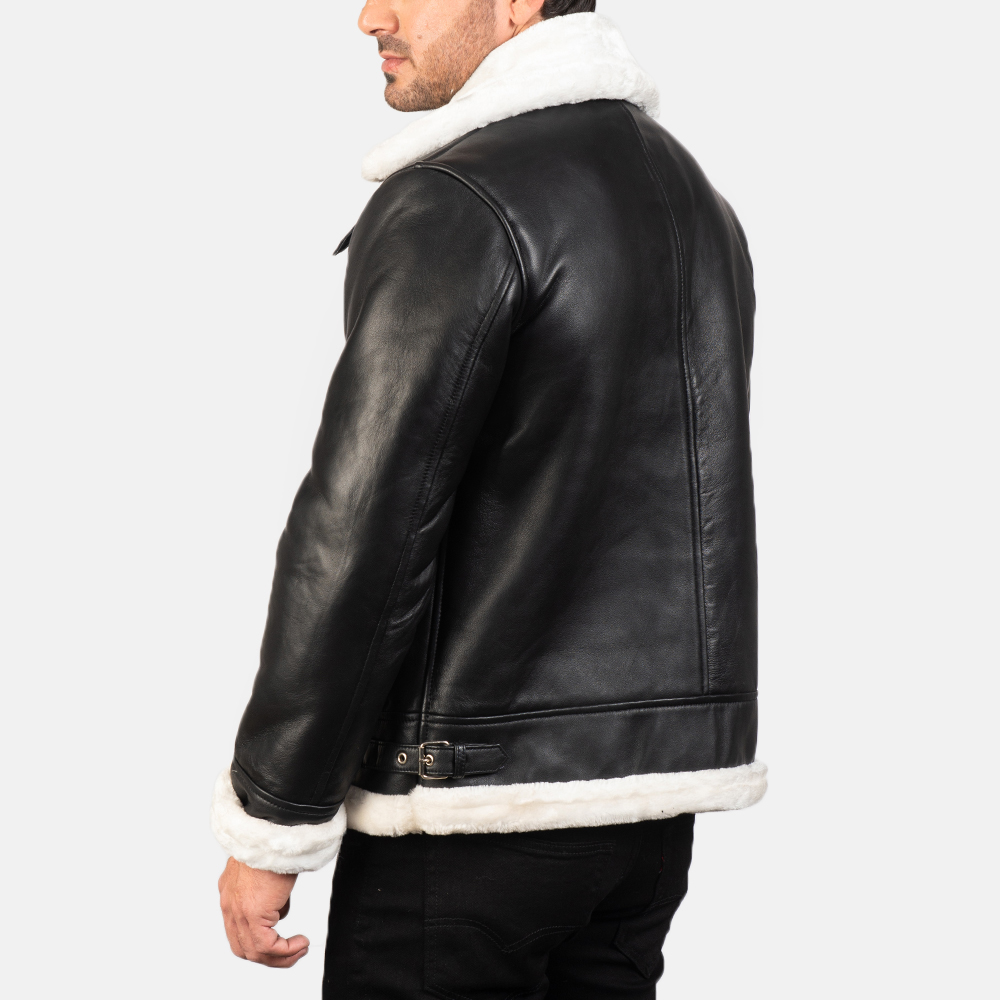 Men's Francis B-3 Black & White Leather Bomber Jacket 5