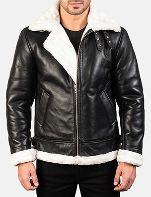 Men's Francis B-3 Black & White Leather Bomber Jacket