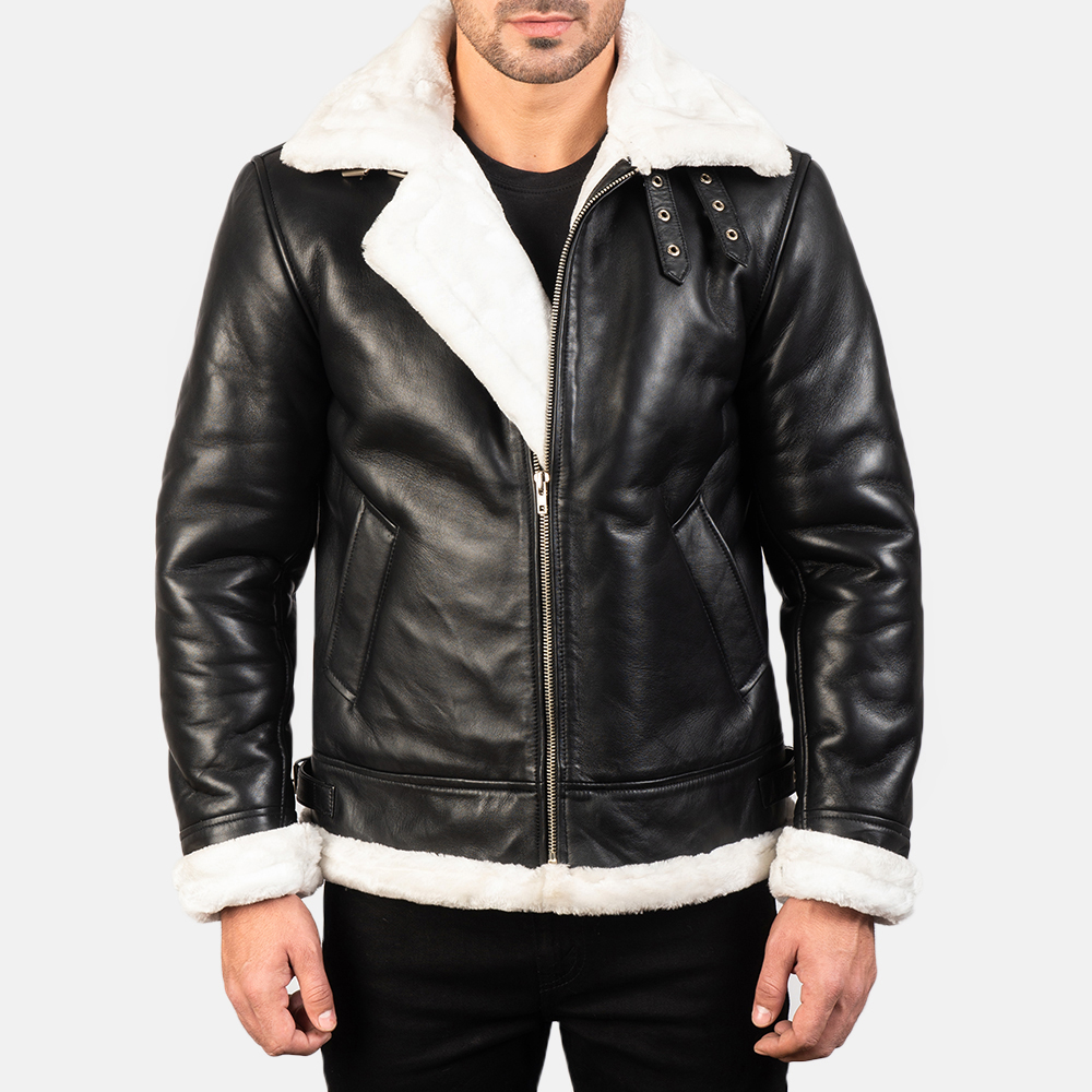 Men's Francis B-3 Black & White Leather Bomber Jacket 3