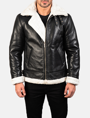 Men's Francis B-3 Black & White Leather Bomber Jacket