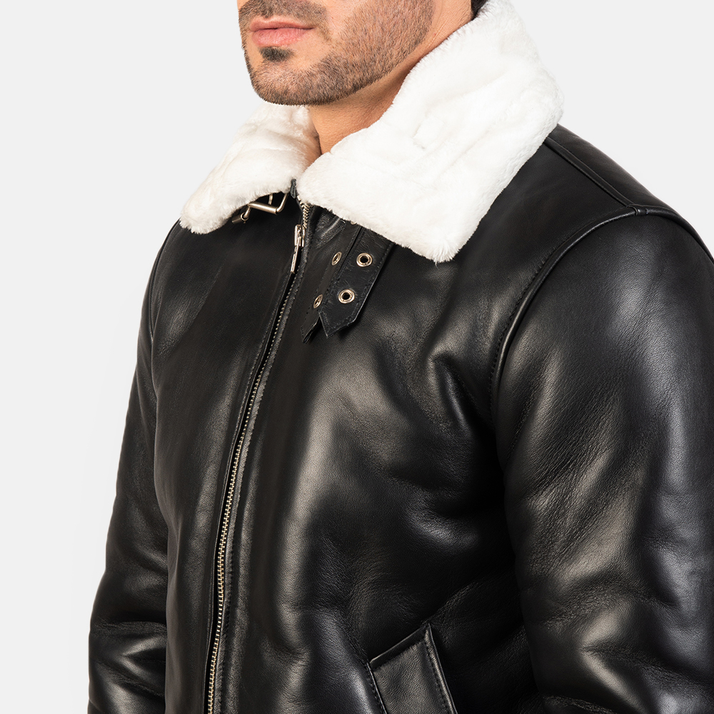Men's Francis B-3 Black & White Leather Bomber Jacket 6