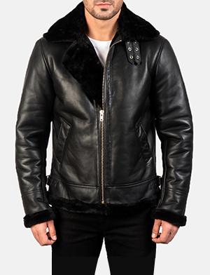 Francis B-3 Black Leather Bomber Jacket