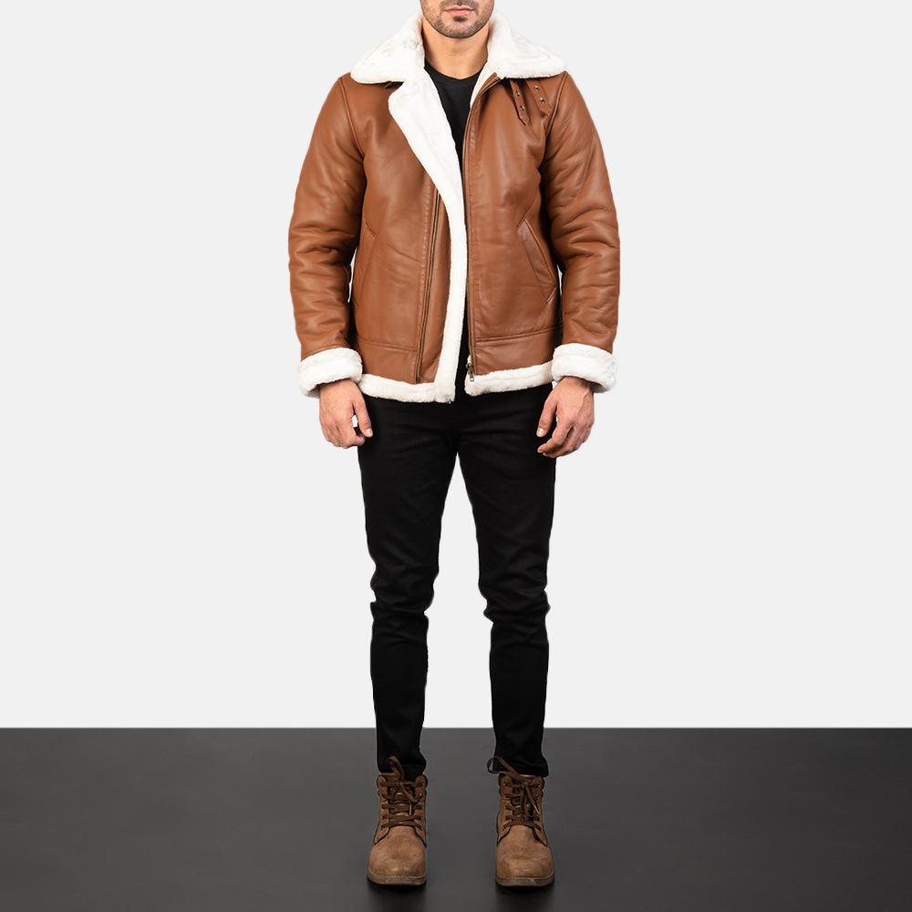 Men's Francis B-3 Brown Leather Bomber Jacket 1