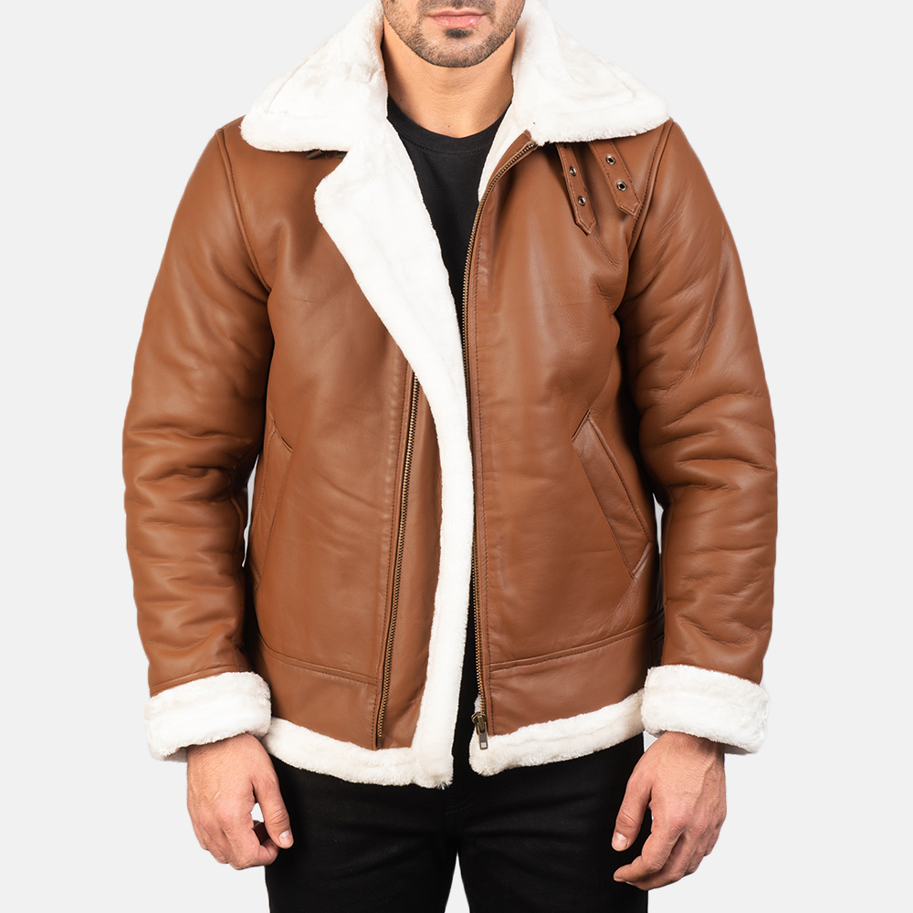 Men's Francis B-3 Brown Leather Bomber Jacket 4