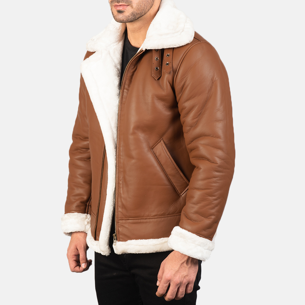 Men's Francis B-3 Brown Leather Bomber Jacket 2
