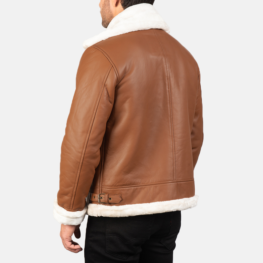 Men's Francis B-3 Brown Leather Bomber Jacket 5