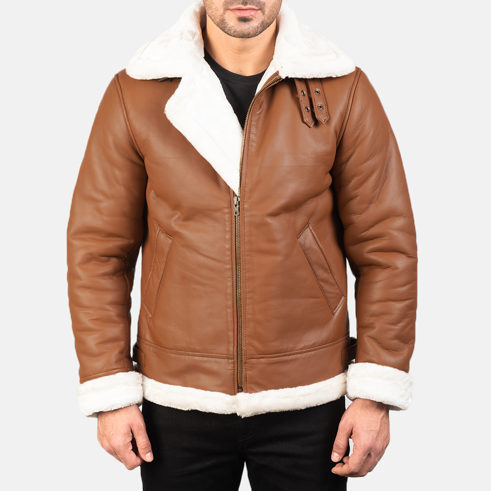 Men's Francis B-3 Brown Leather Bomber Jacket 3