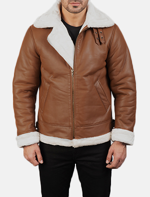 Men's Francis B-3 Brown Leather Bomber Jacket