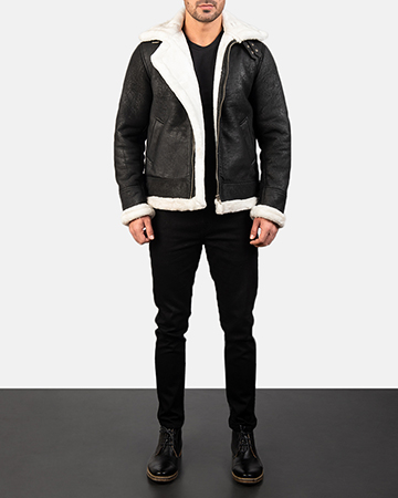 Men's Francis B-3 Distressed Black Leather Bomber Jacket 1