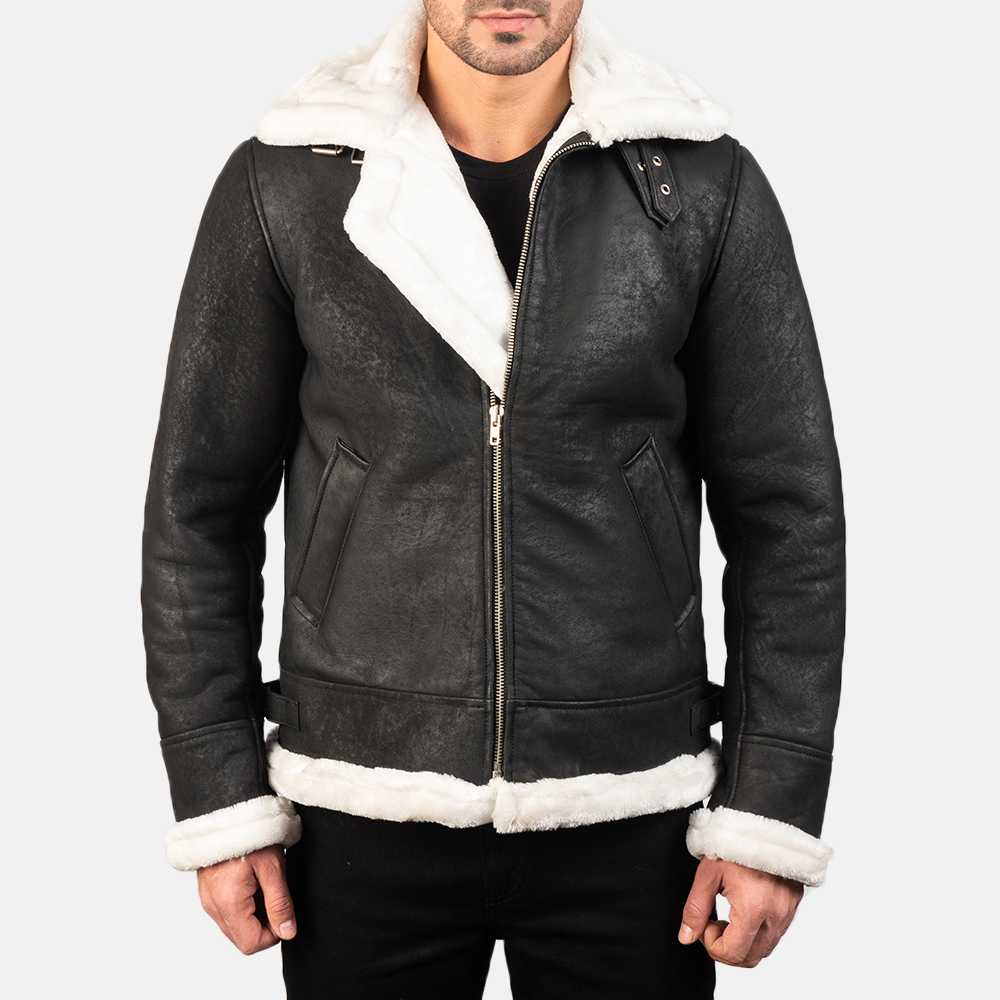 Men's Francis B-3 Distressed Black Leather Bomber Jacket 3