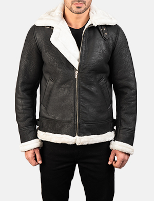 Men's Francis B-3 Distressed Black Leather Bomber Jacket