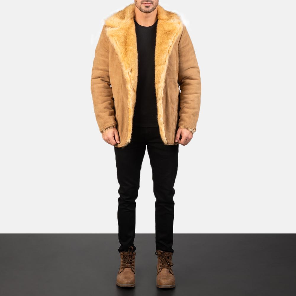 Men's Furlong Beige Leather Coat 1
