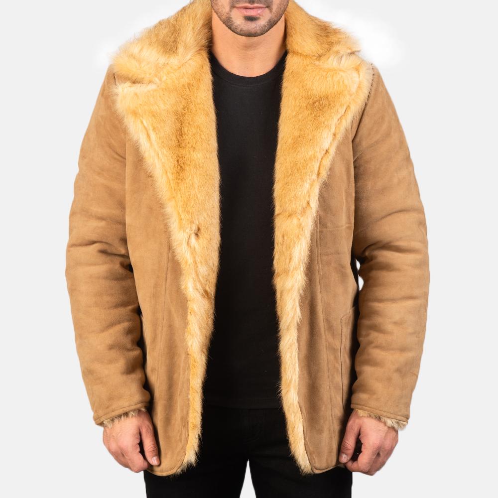 Men's Furlong Beige Leather Coat 3