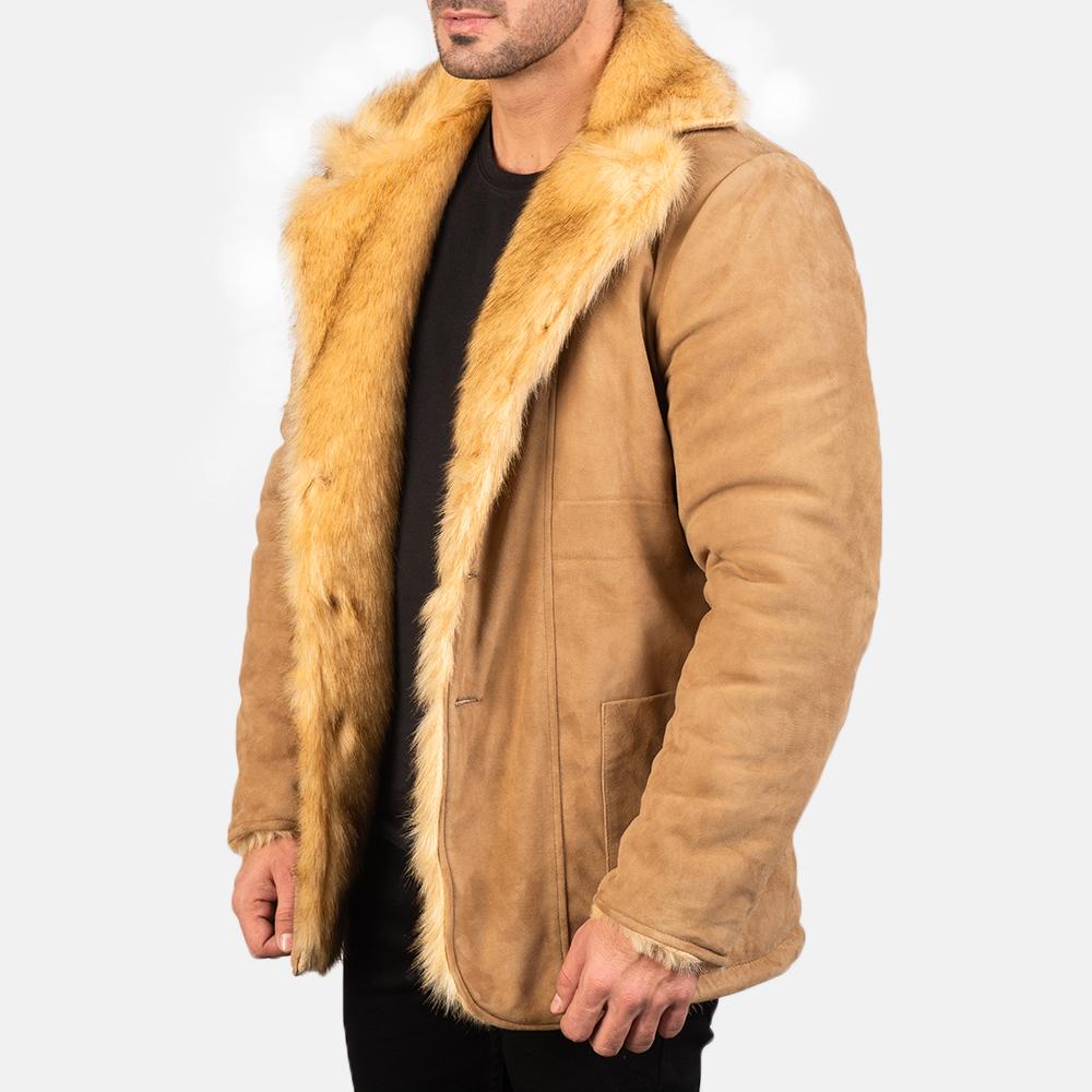 Men's Furlong Beige Leather Coat 2
