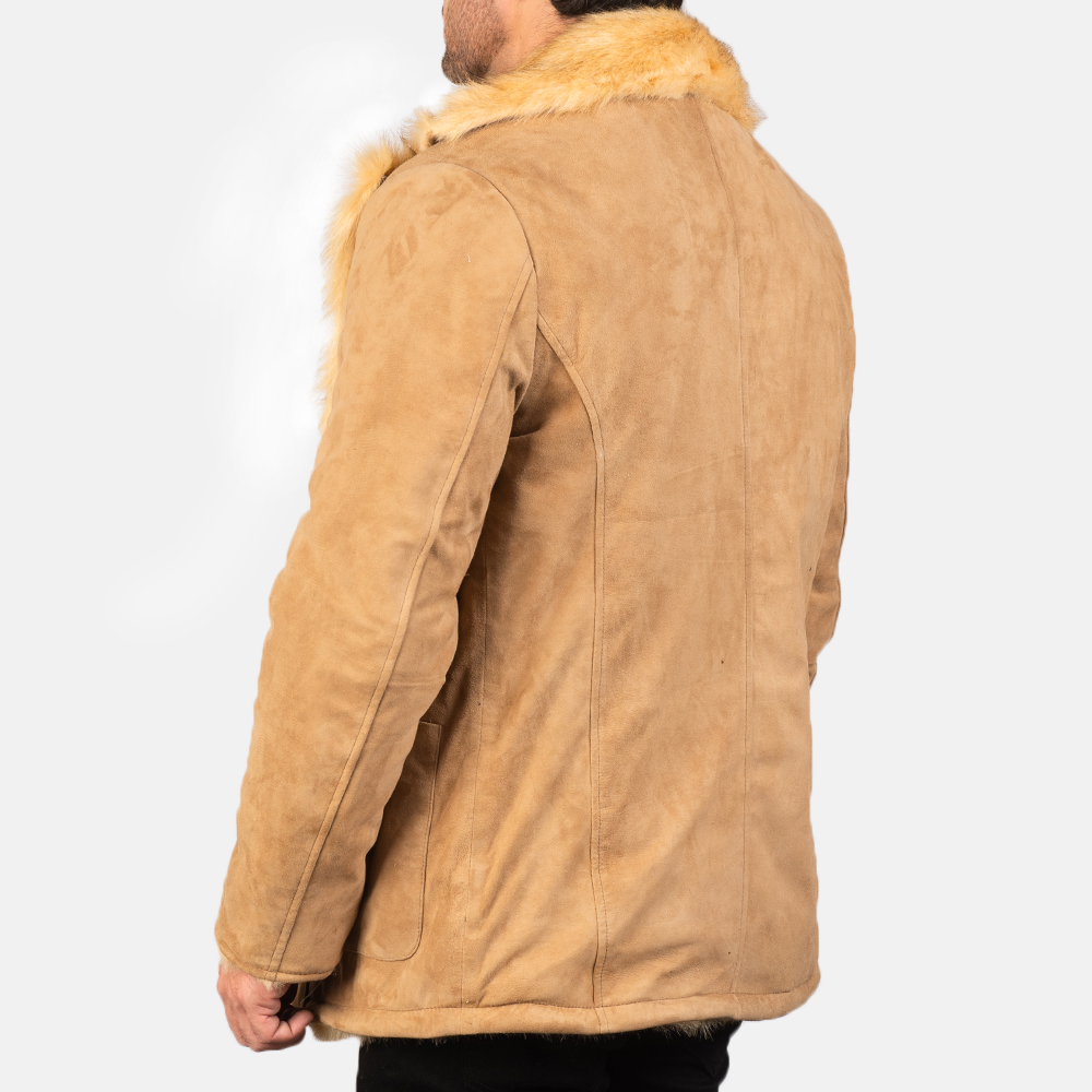 Men's Furlong Beige Leather Coat 5