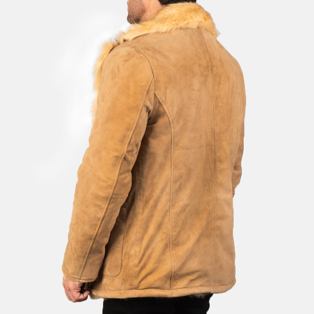 Men's Furlong Beige Leather Coat 5